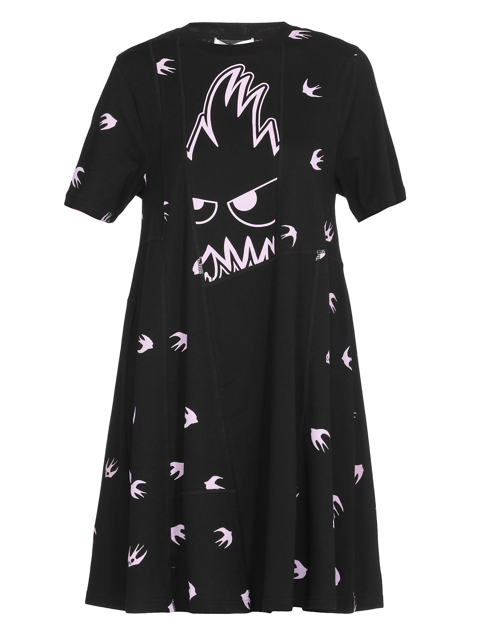Mcq Alexander Mcqueen 'Swallow Monster' Dress in Black/Pink