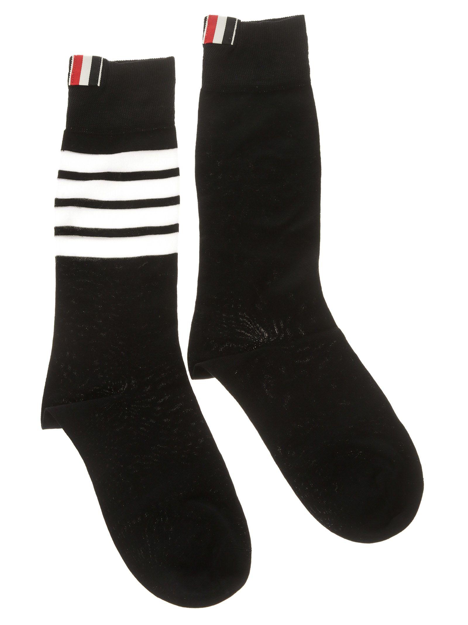 Thom Browne Stripe Logo Socks