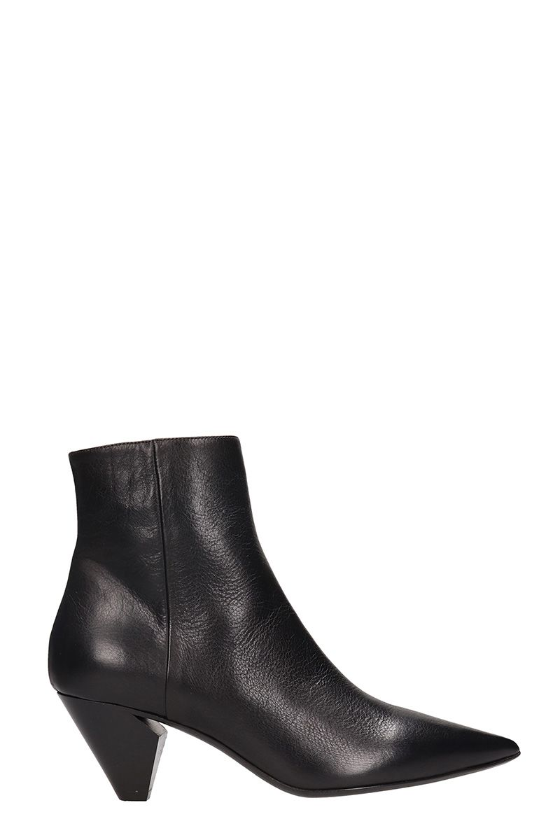 Elena Iachi Pointed Toe Black Leather Ankle Boots
