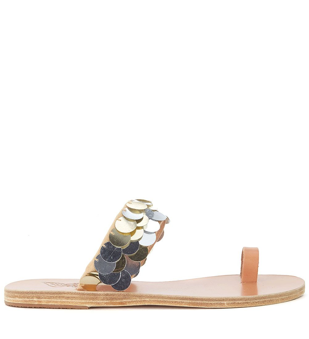 Ancient Greek Leather Sandals Thraki With Golden And Silver Sequins