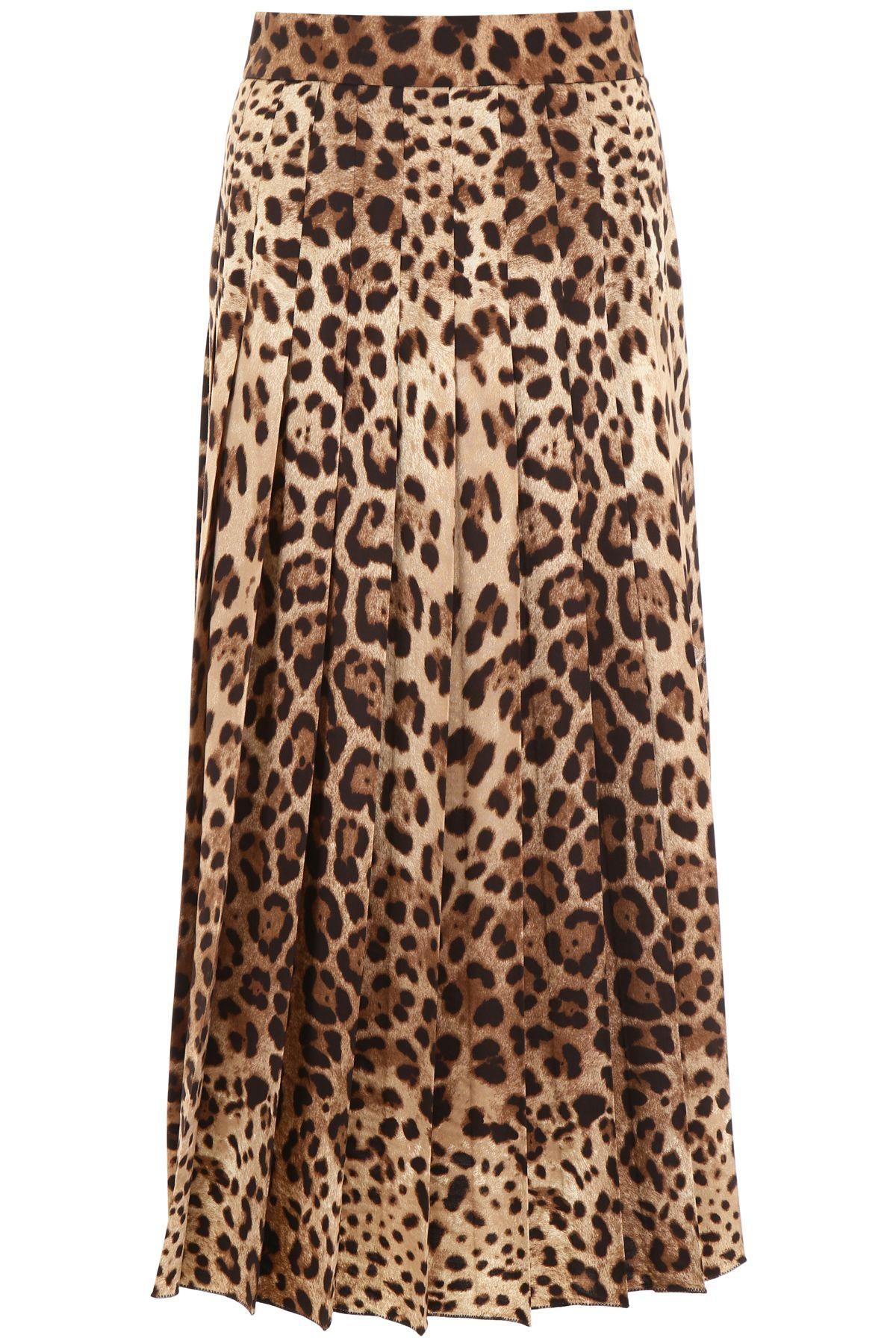 Dolce & Gabbana Leopard Print Pleated Skirt
