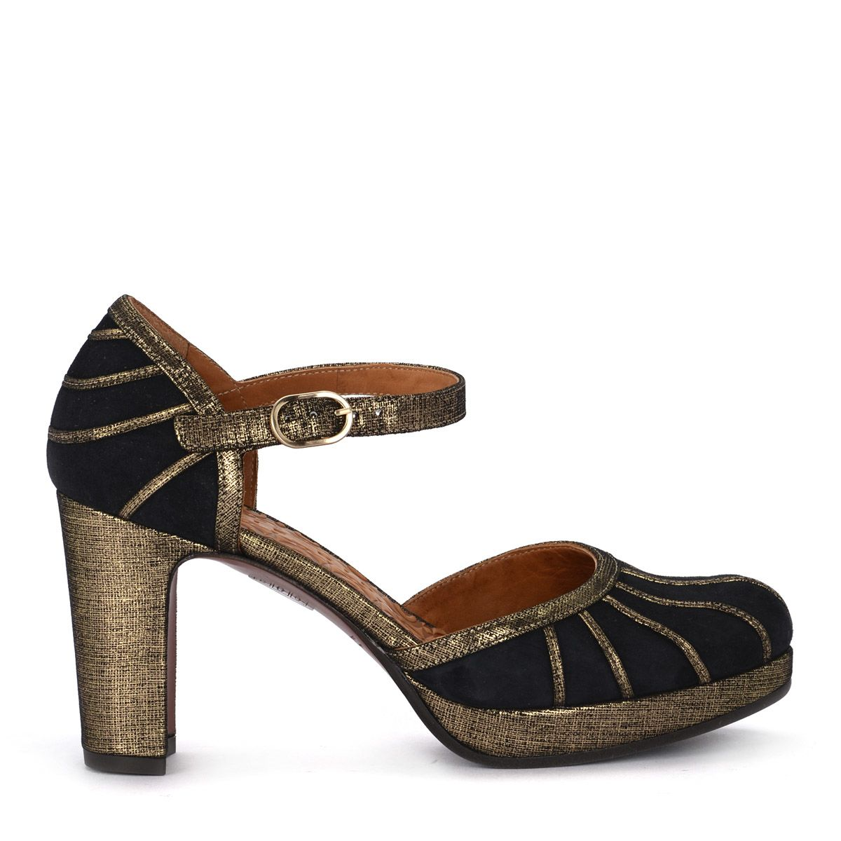 Chie Mihara Capin Dark Blue And Gold Suede Shoes