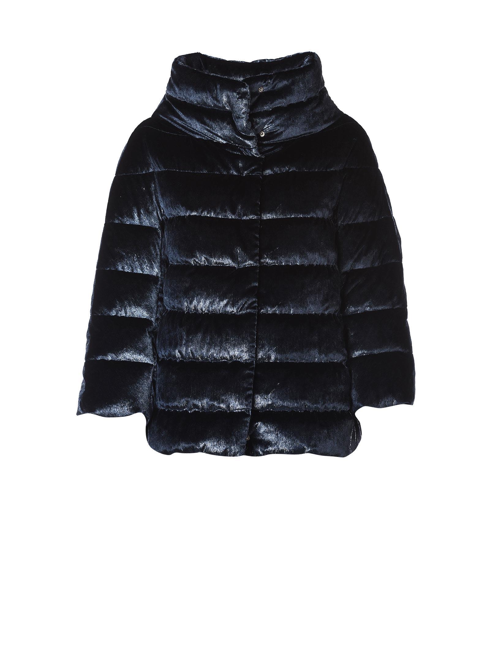 Herno Padded Jacket In Blue Velvet