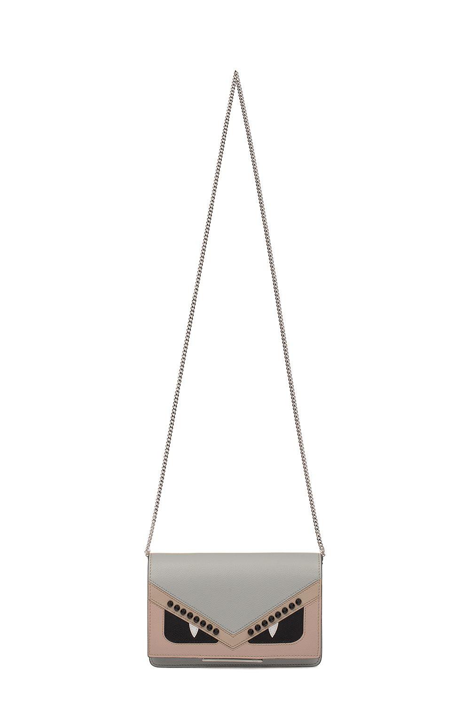 Fendi Light Blue/beige Saffiano Leather Cross Body Wallet