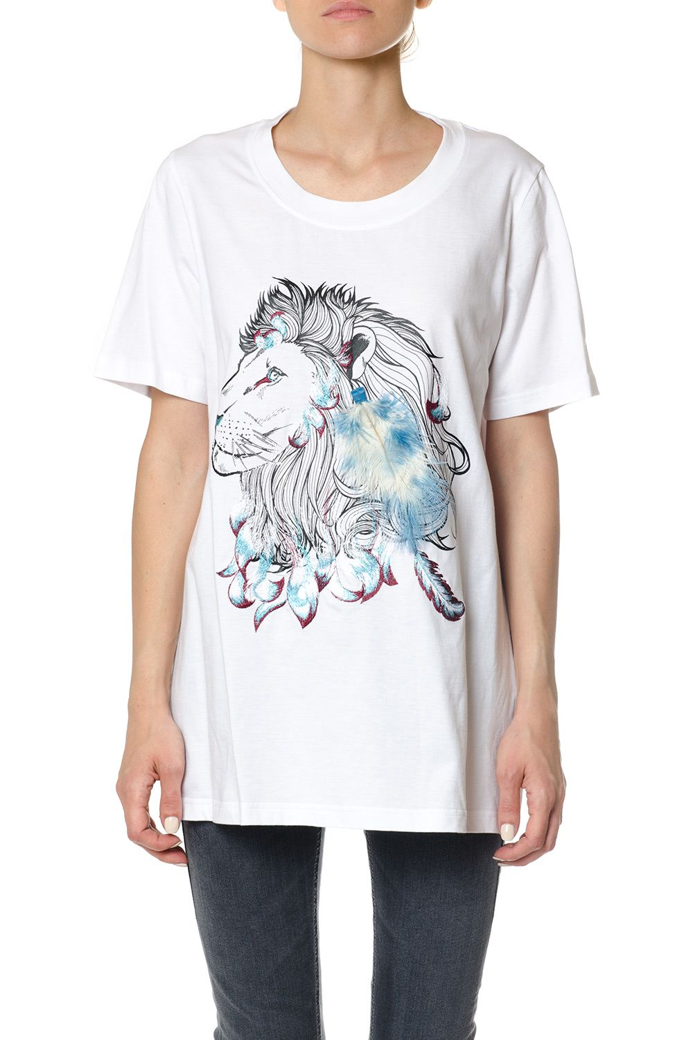 Dondup Cotton T-shirt With Feather Detail