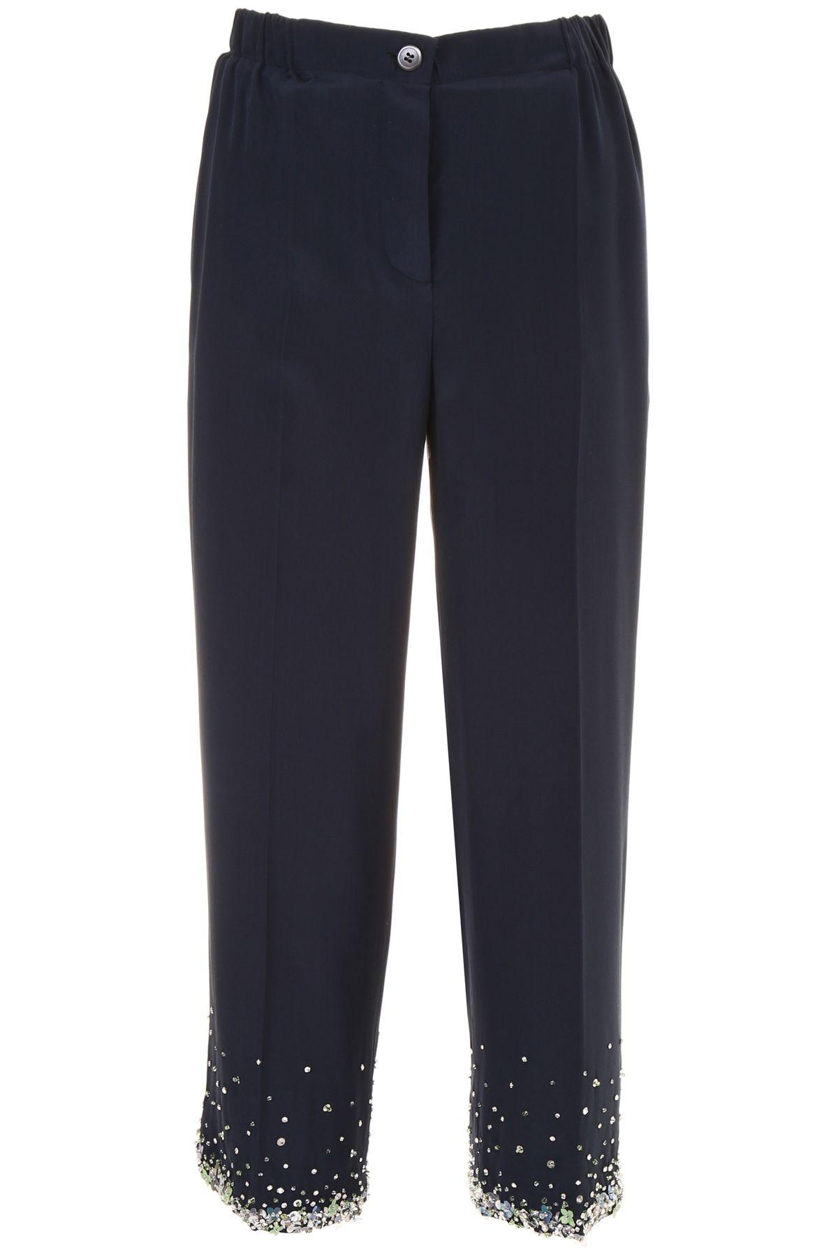 Miu Miu Embroidered Crepe De Chine Trousers