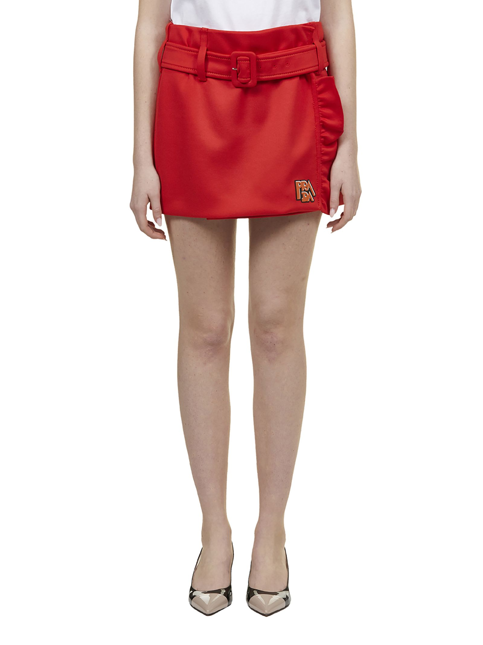 Prada Side Ruffle Mini Skirt