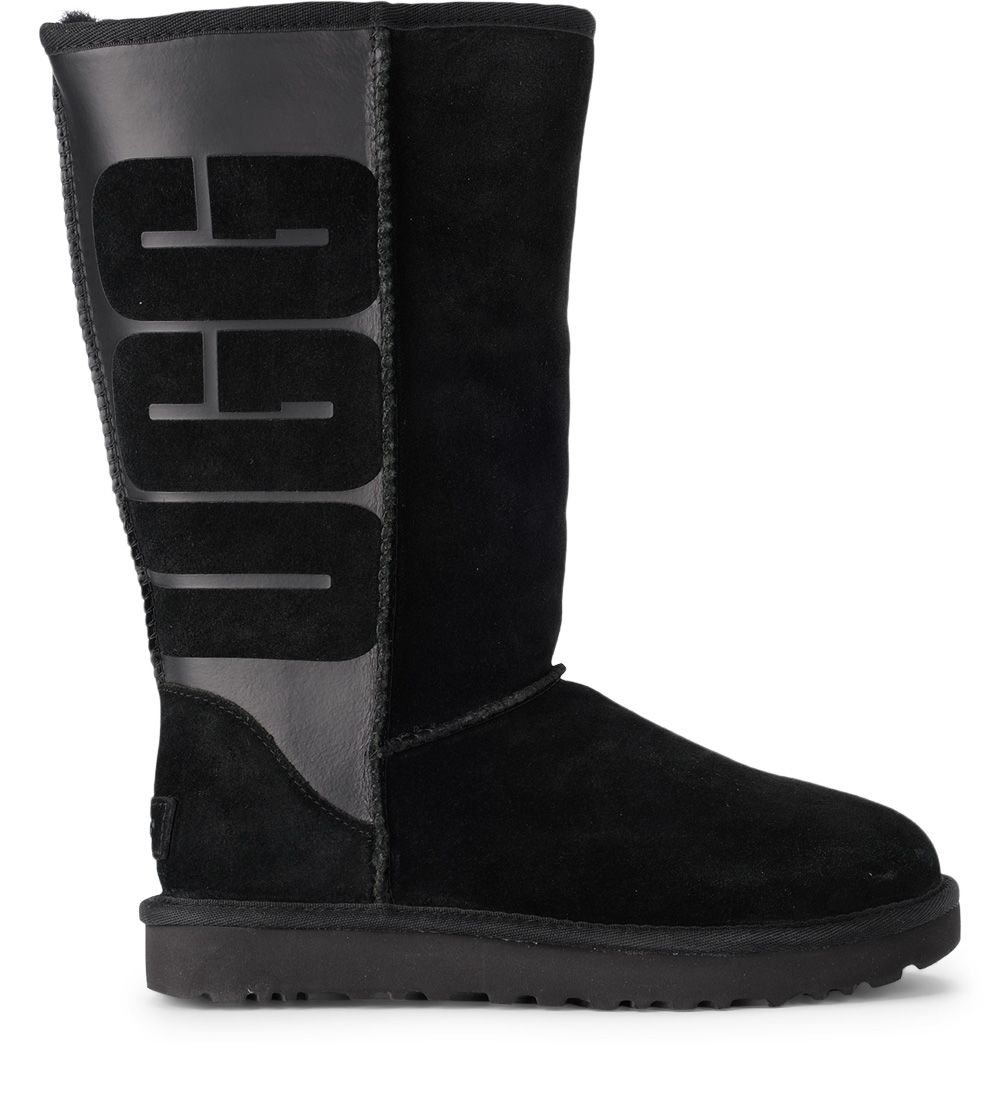 Ugg Classic Tall Black Leather And Sheepskin Boots