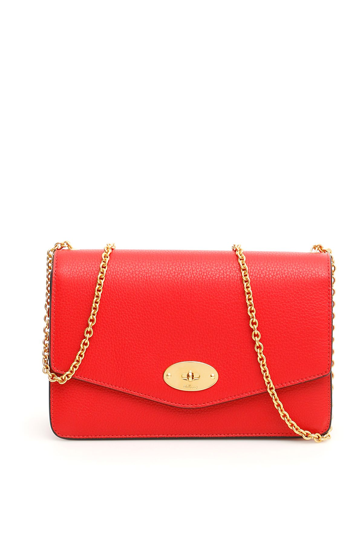 MULBERRY Grain Leather Darley Bag in Ruby Red