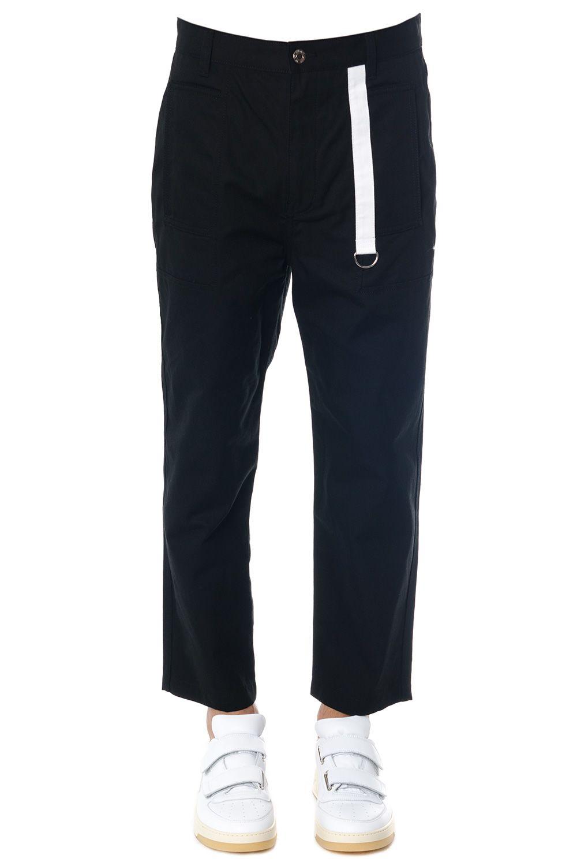 Helmut Lang Black Cotton Canvas Cropped Pants