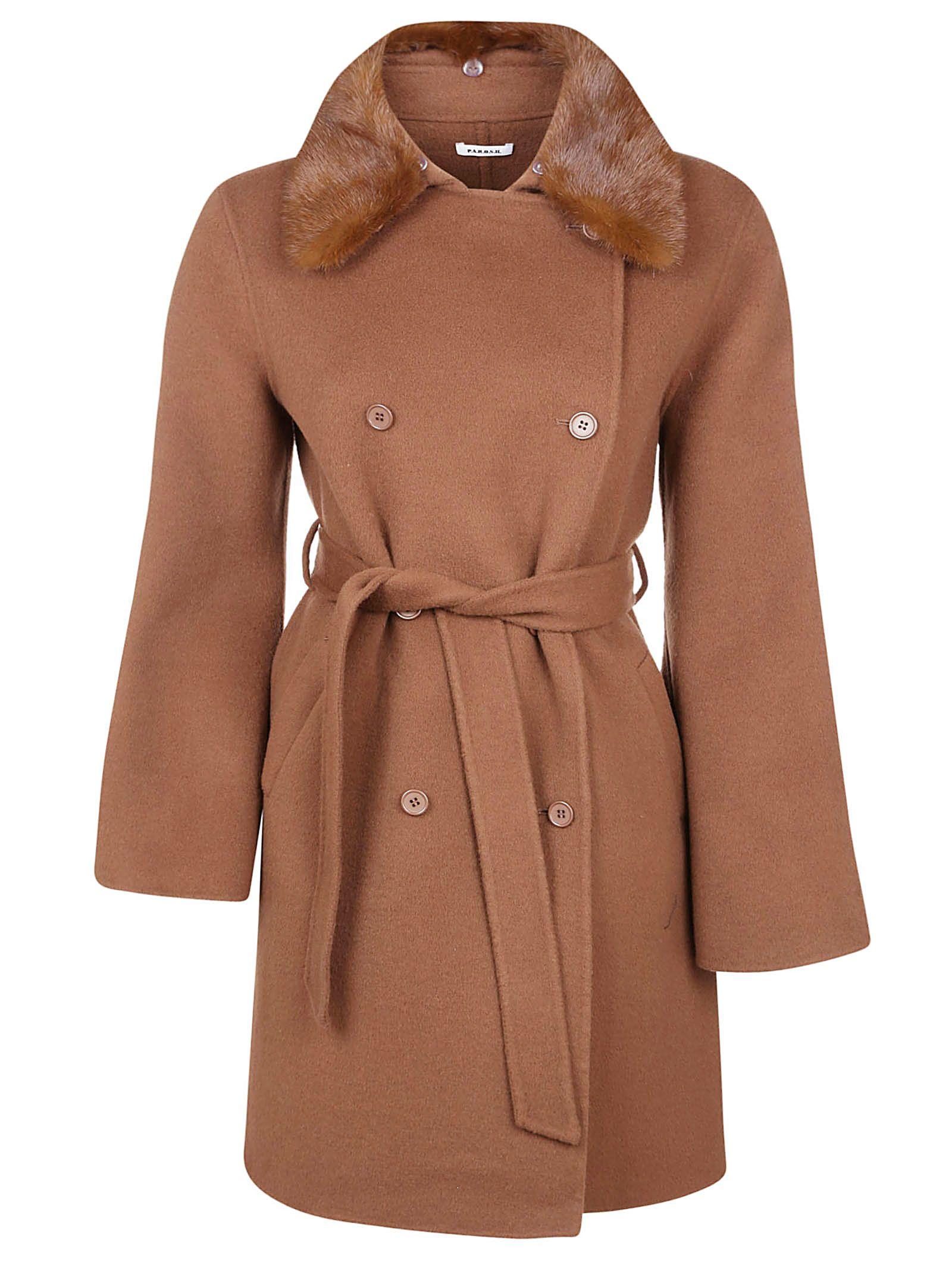 Parosh Fur Trim Coat