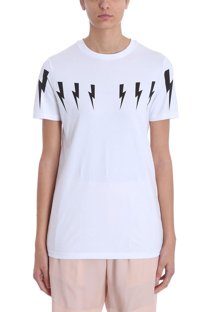 Neil Barrett Lightning Bolt Slim White Cotton T-shirt