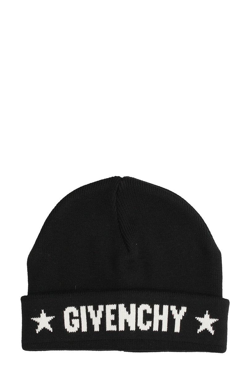 Givenchy Black Cotton Beanie Cap