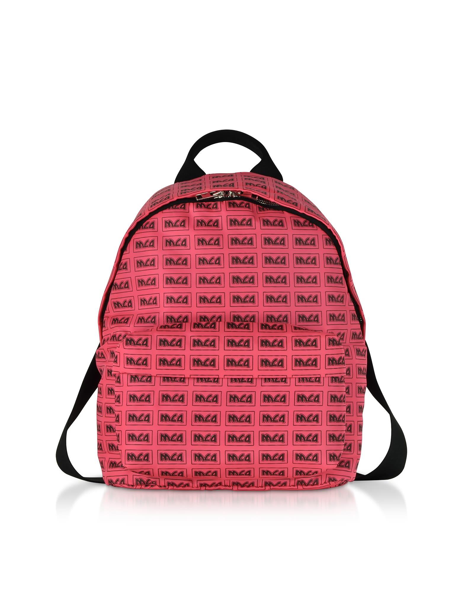 Mcq Alexander Mcqueen Neon Pink Metal Repeat Logo Backpack