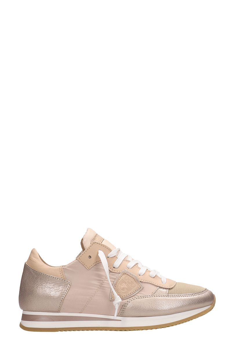 Philippe Model Tropez Mondial Metal Pink Suede Sneakers