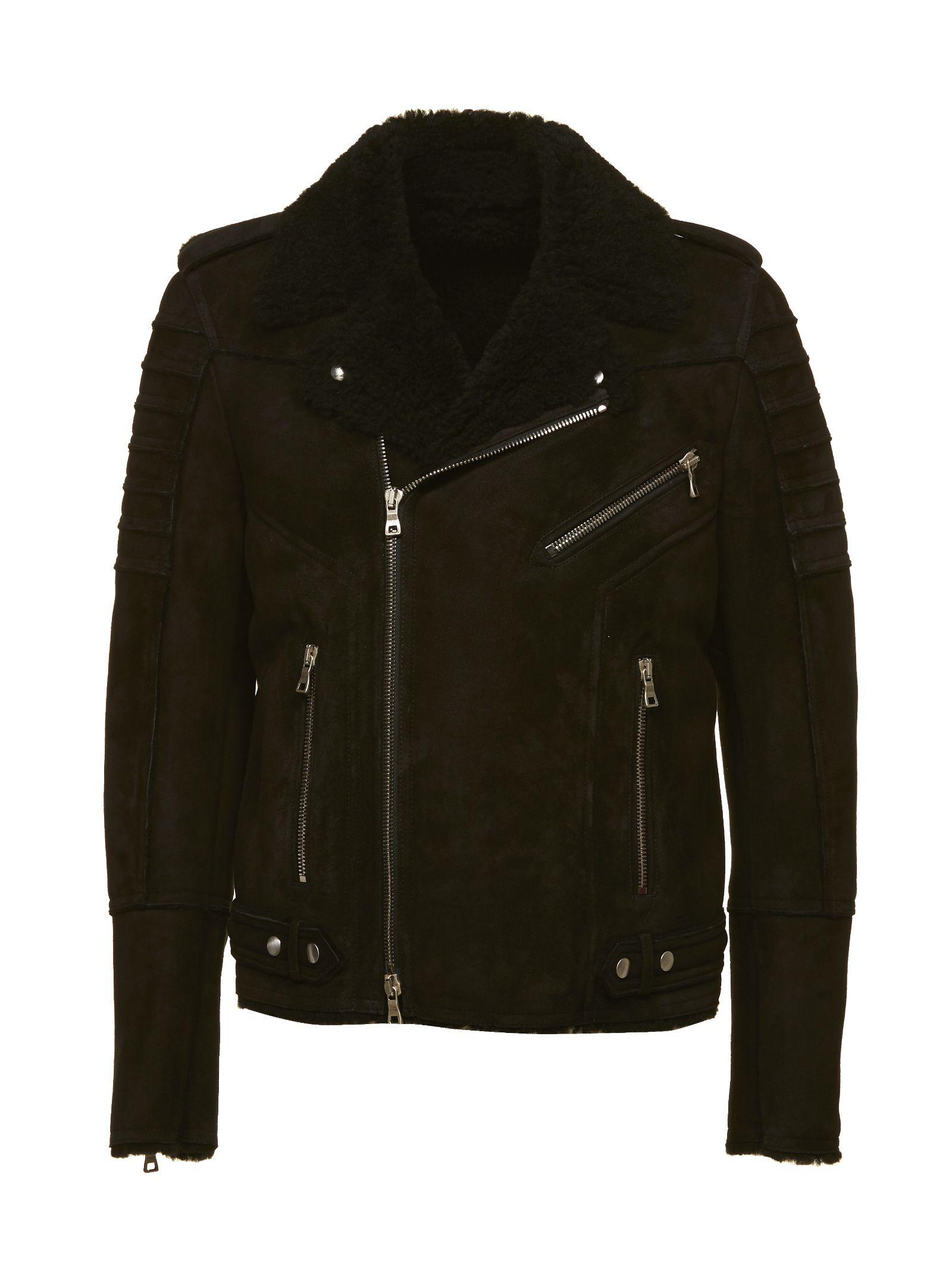 Balmain Fur Lapel Biker Jacket