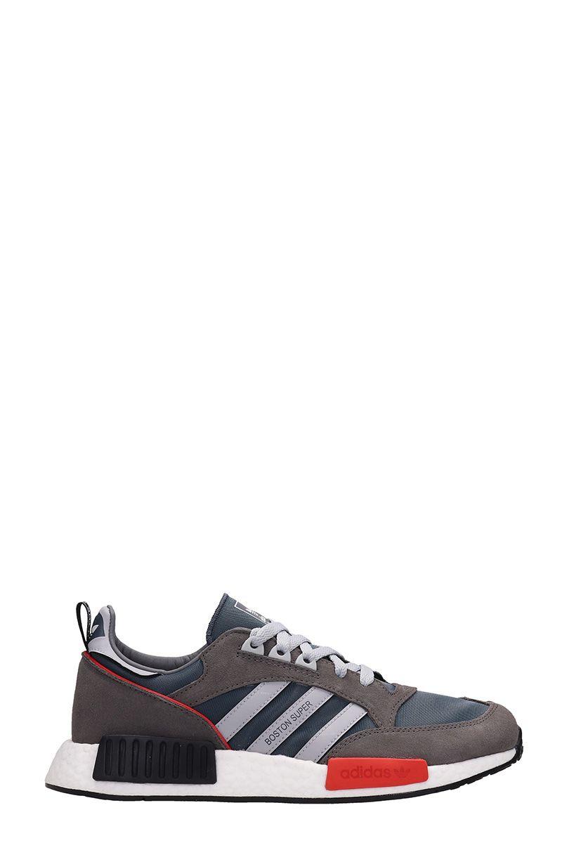 Adidas Boston Super Dark Grey Suede And Fabric Sneakers