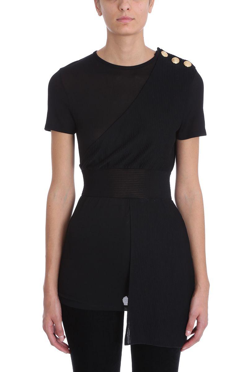 Balmain Black Viscose T-shirt