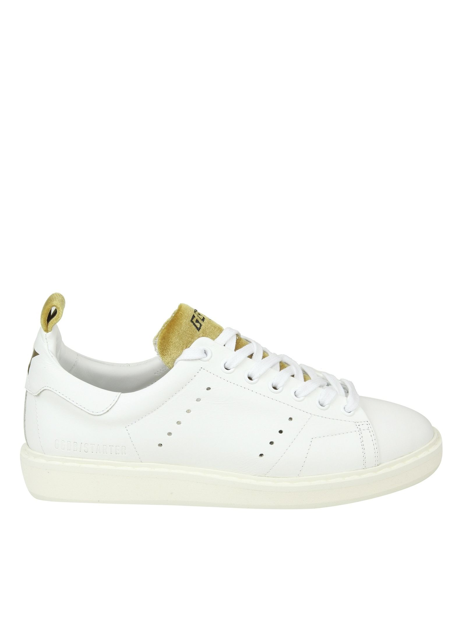 "Golden Goose ""starter"" Sneakers In White Leather With Velvet Details"