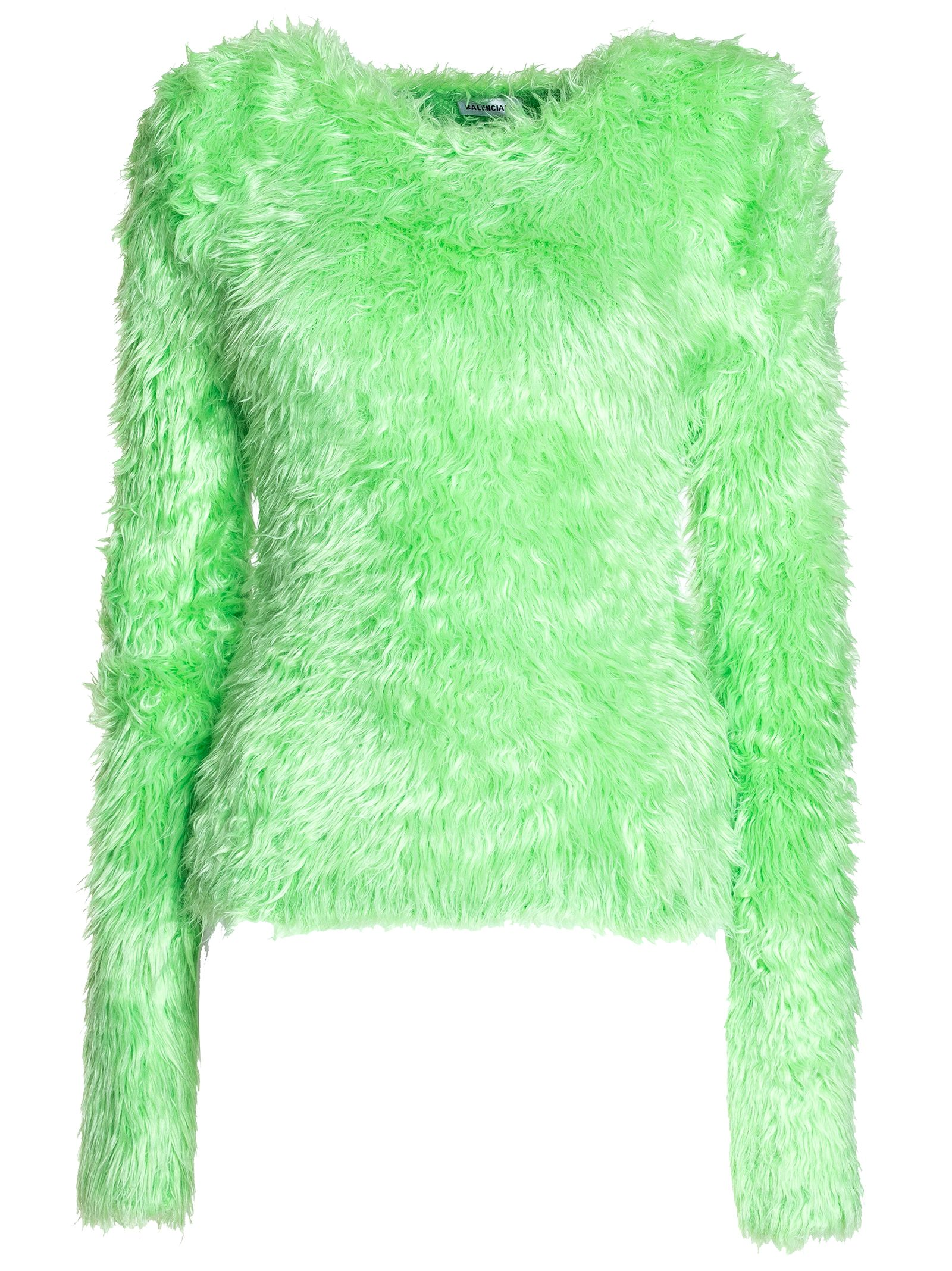 balenciaga -  Crewneck Sweater In Neon Green Fluffly Knit