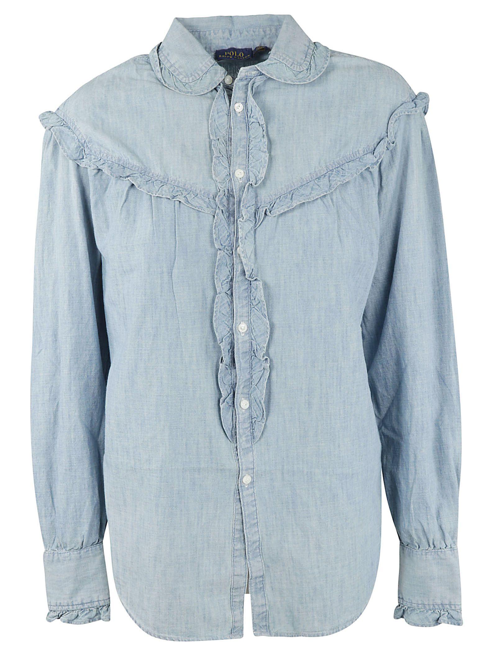 Ralph Lauren Ruffled Denim Shirt