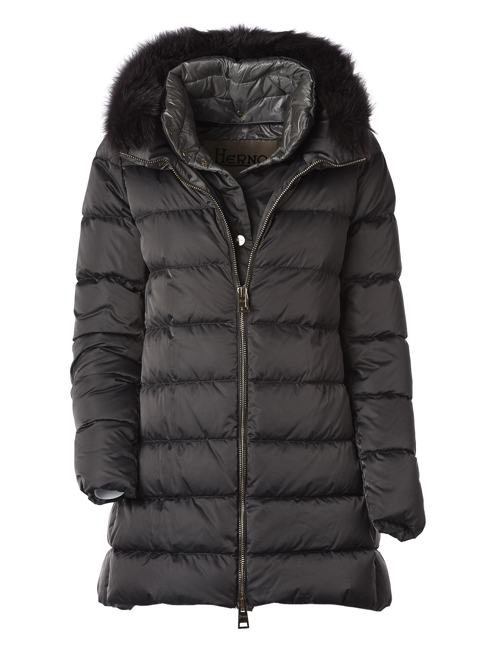 Herno Fur Hooded Padded Parka In Grey Lichen