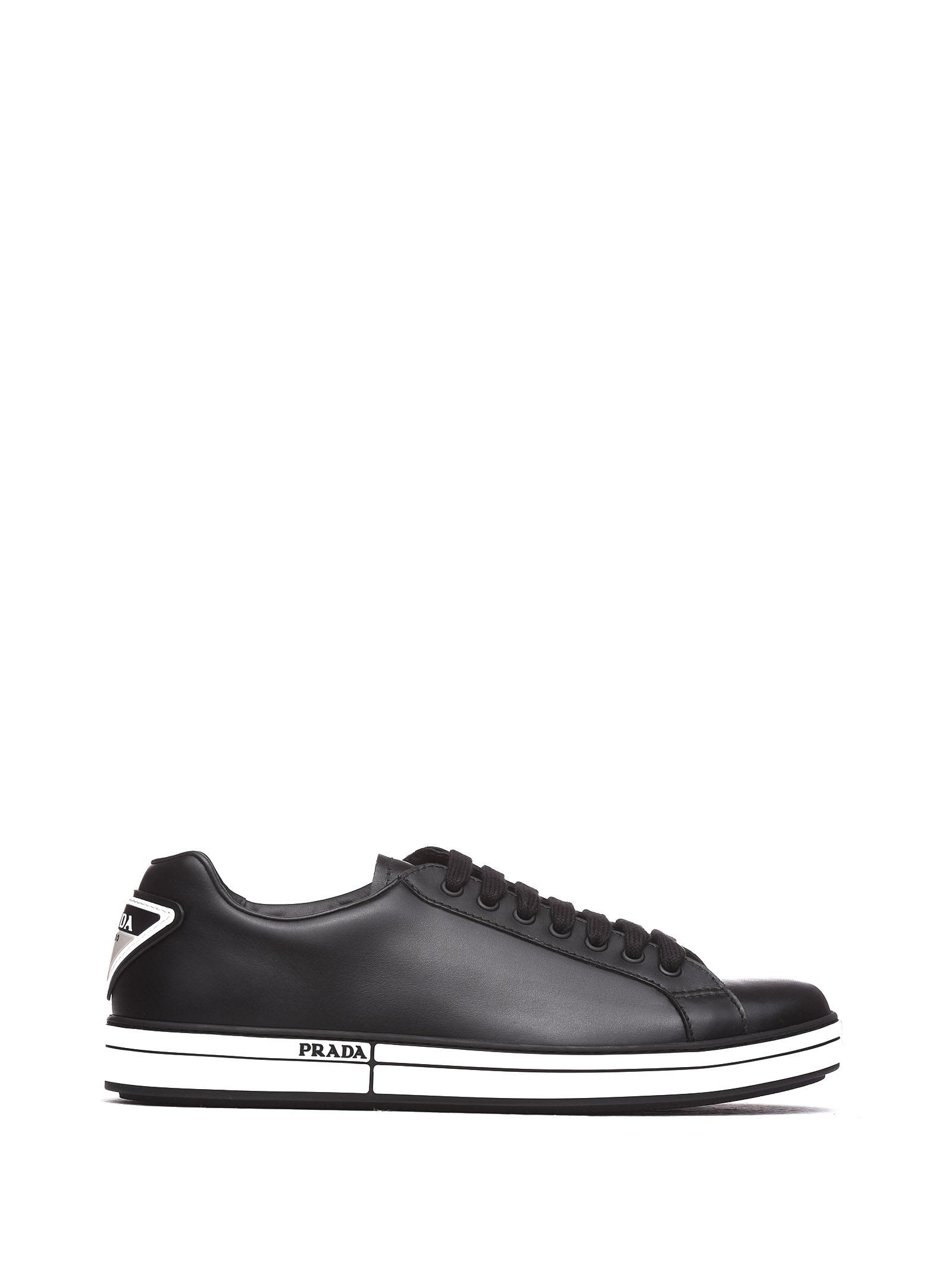 Prada Linea Rossa Black Leather Sneakers