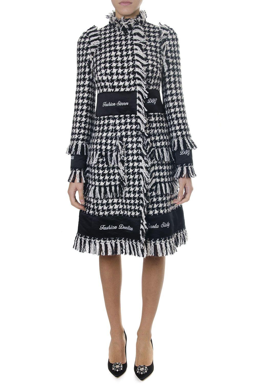 Dolce & Gabbana Two Color Mixed Wool Pied De Poule Coat
