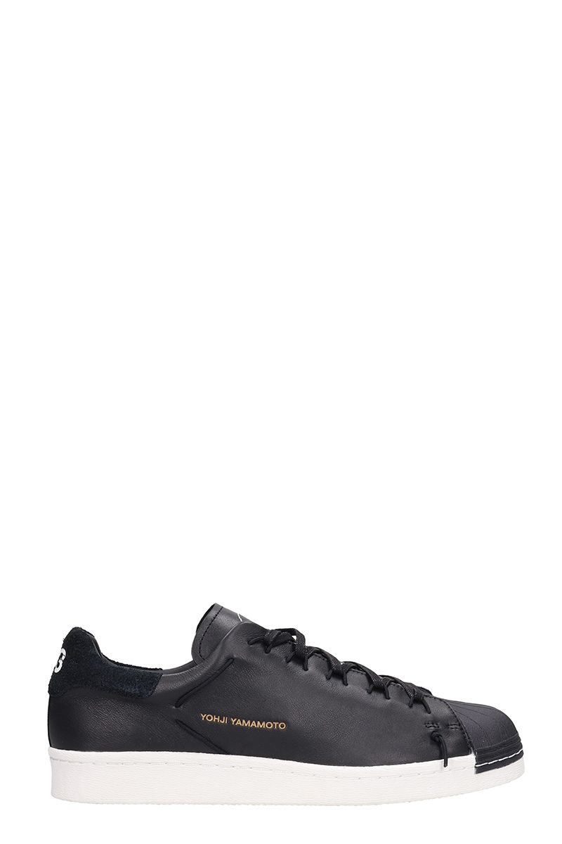 y-3 -  Black Leather Super Knot Sneakers