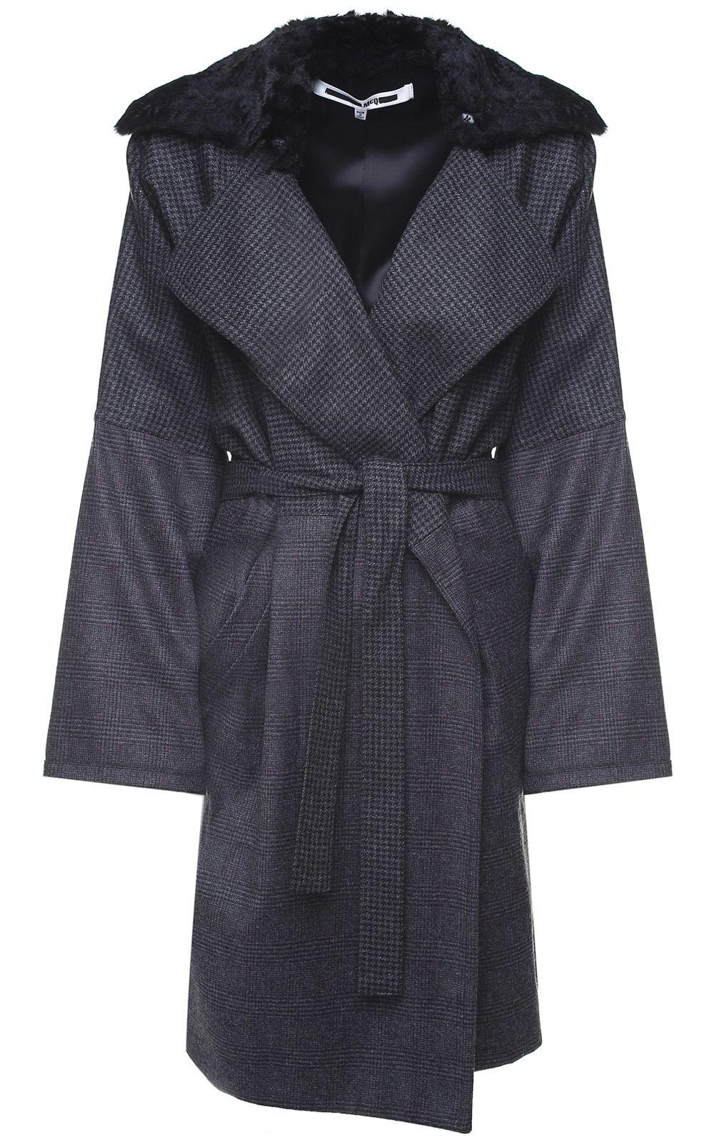 McQ Alexander McQueen Faux-fur And Pied De Poule-check Wool Coat
