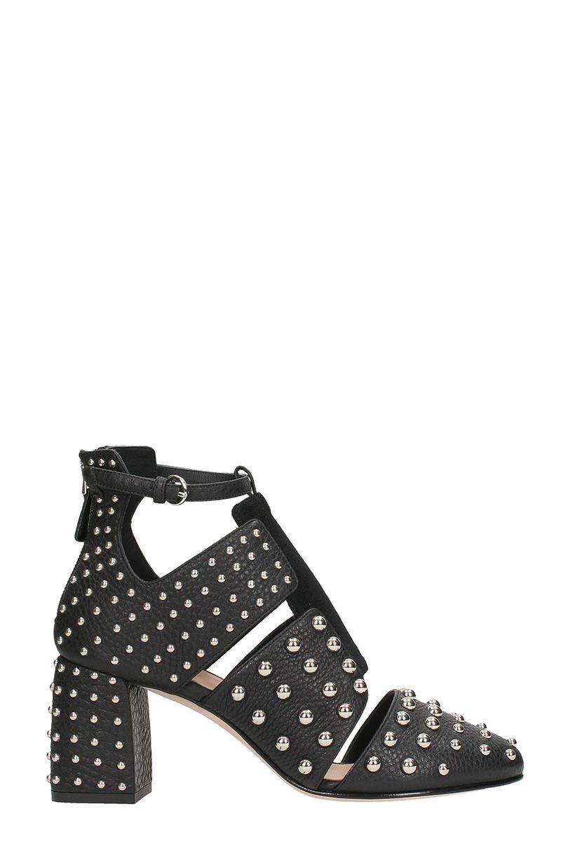 RED Valentino Studs Black Suede And Leather Sandals