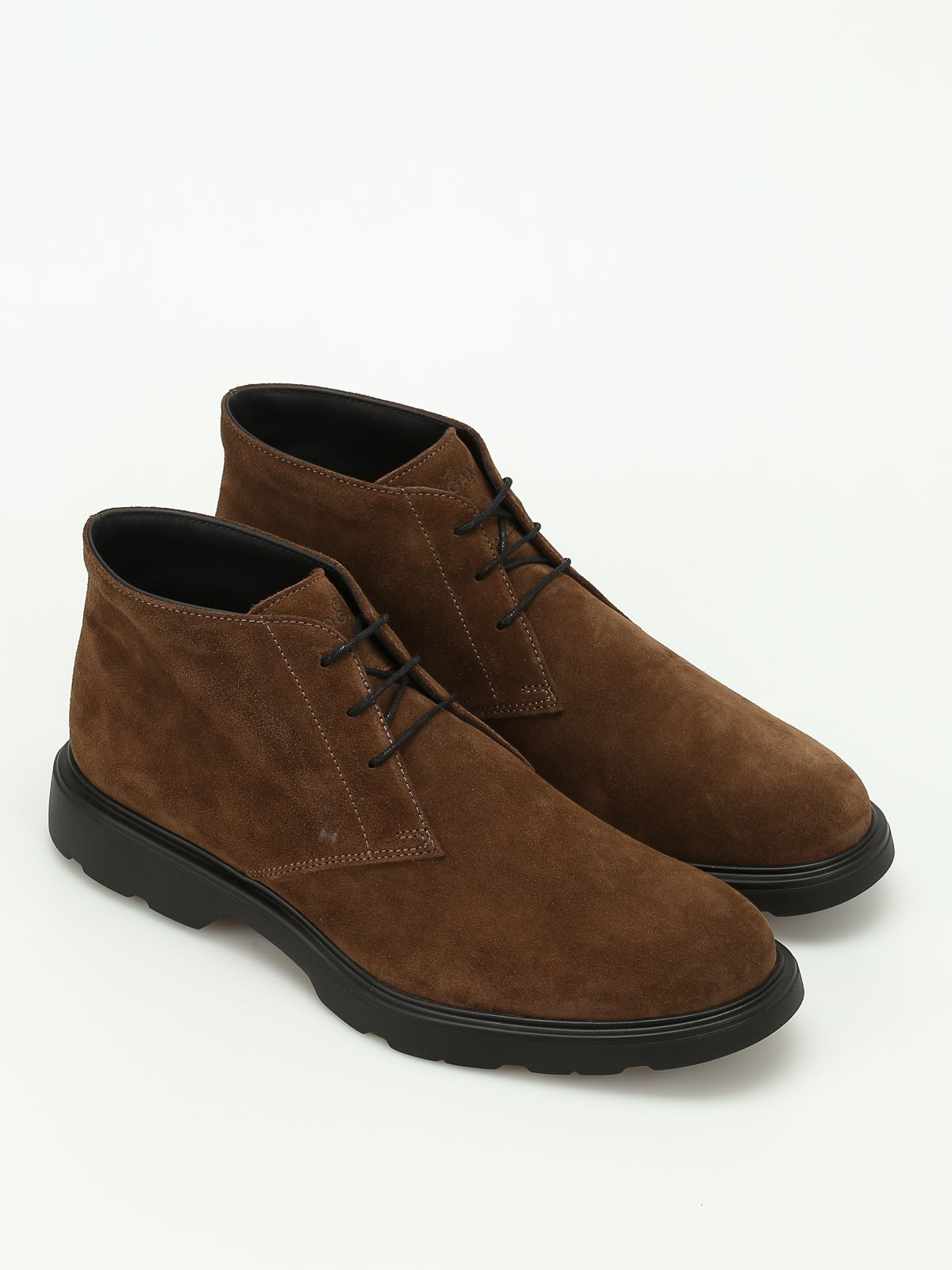 Hogan H304 New Route Suede Ankle Boots In Dark Grey | ModeSens