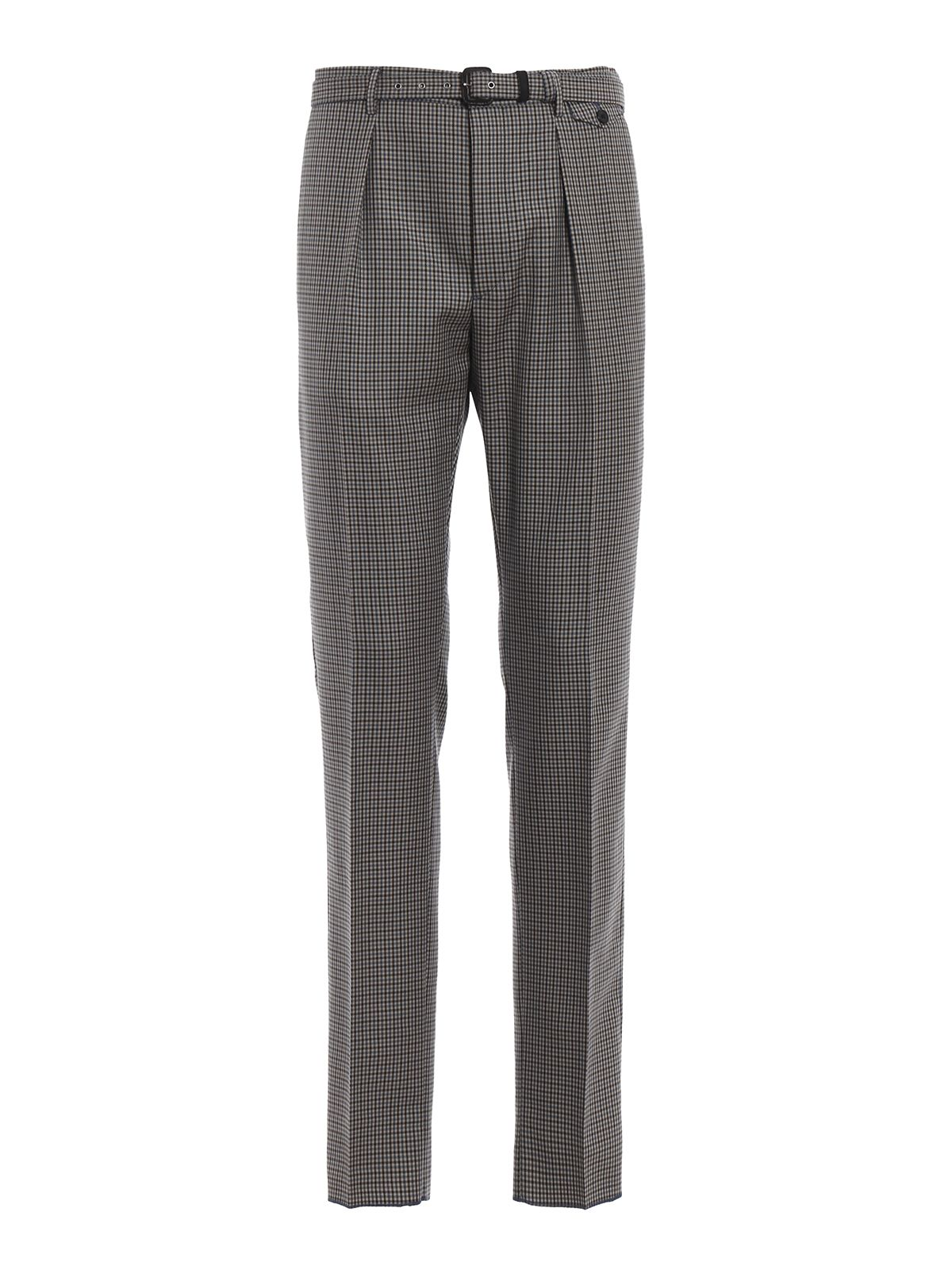Prada Checked Belted Trousers