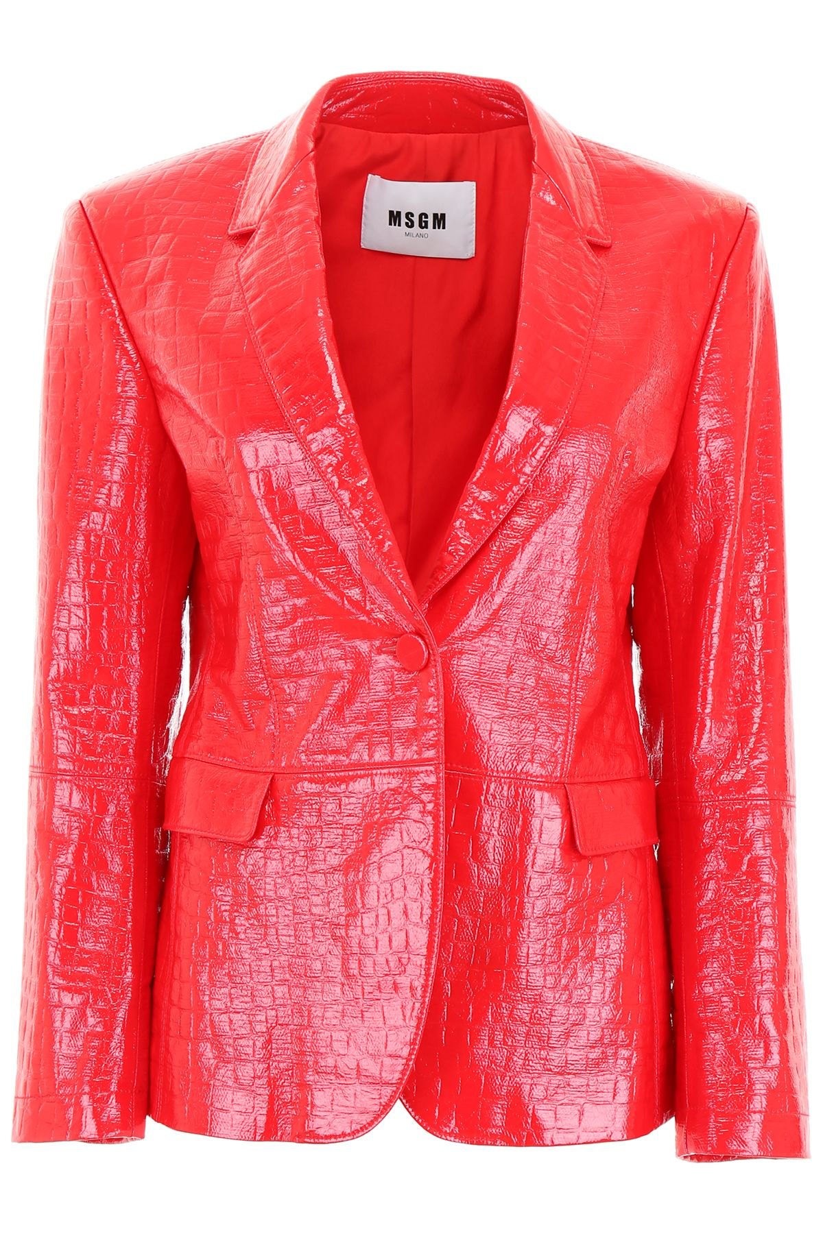 Python-Embossed Blazer in Rosso|Rosso