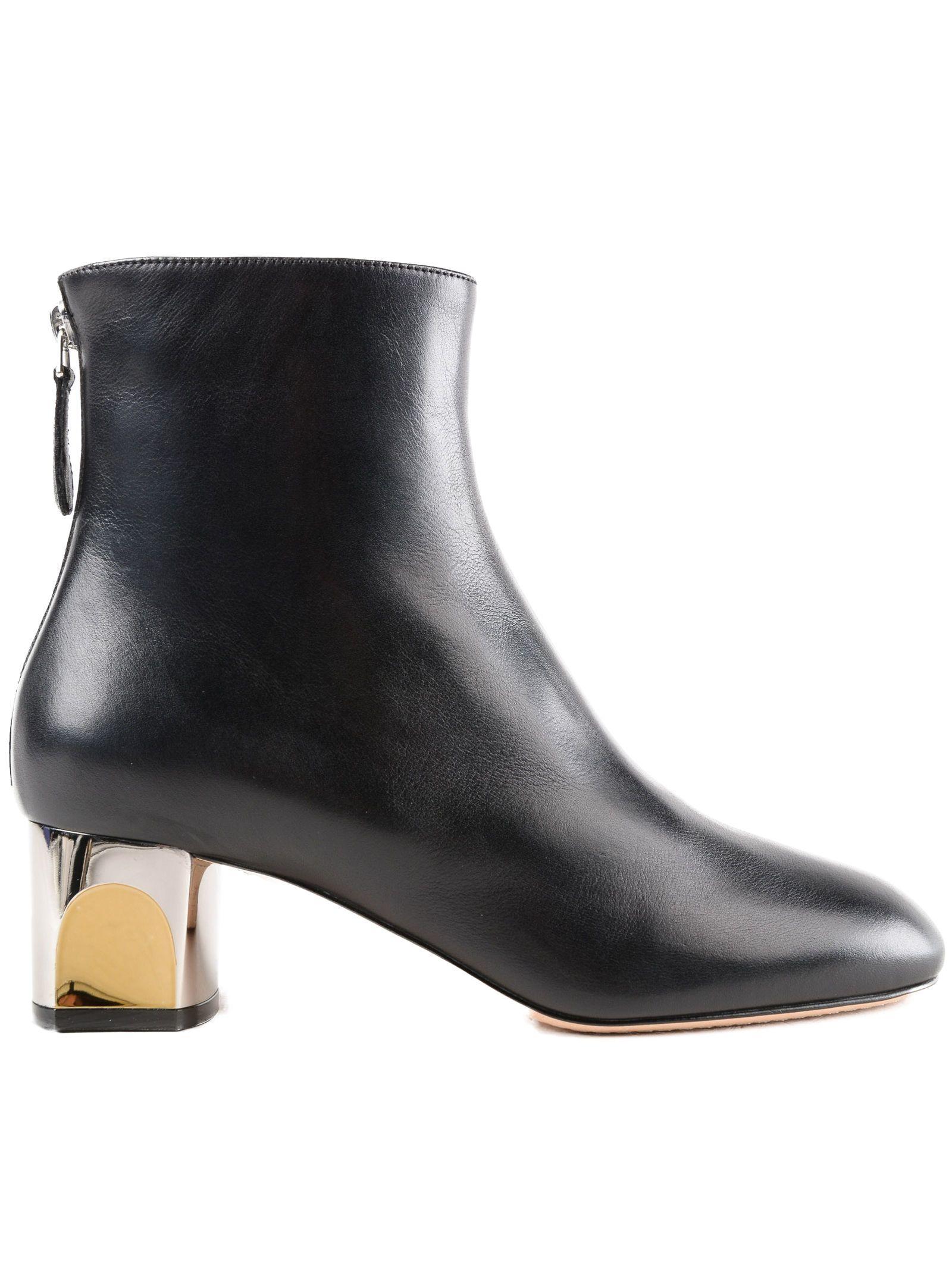 Alexander Mcqueen Metallic Heeled Ankle Boots