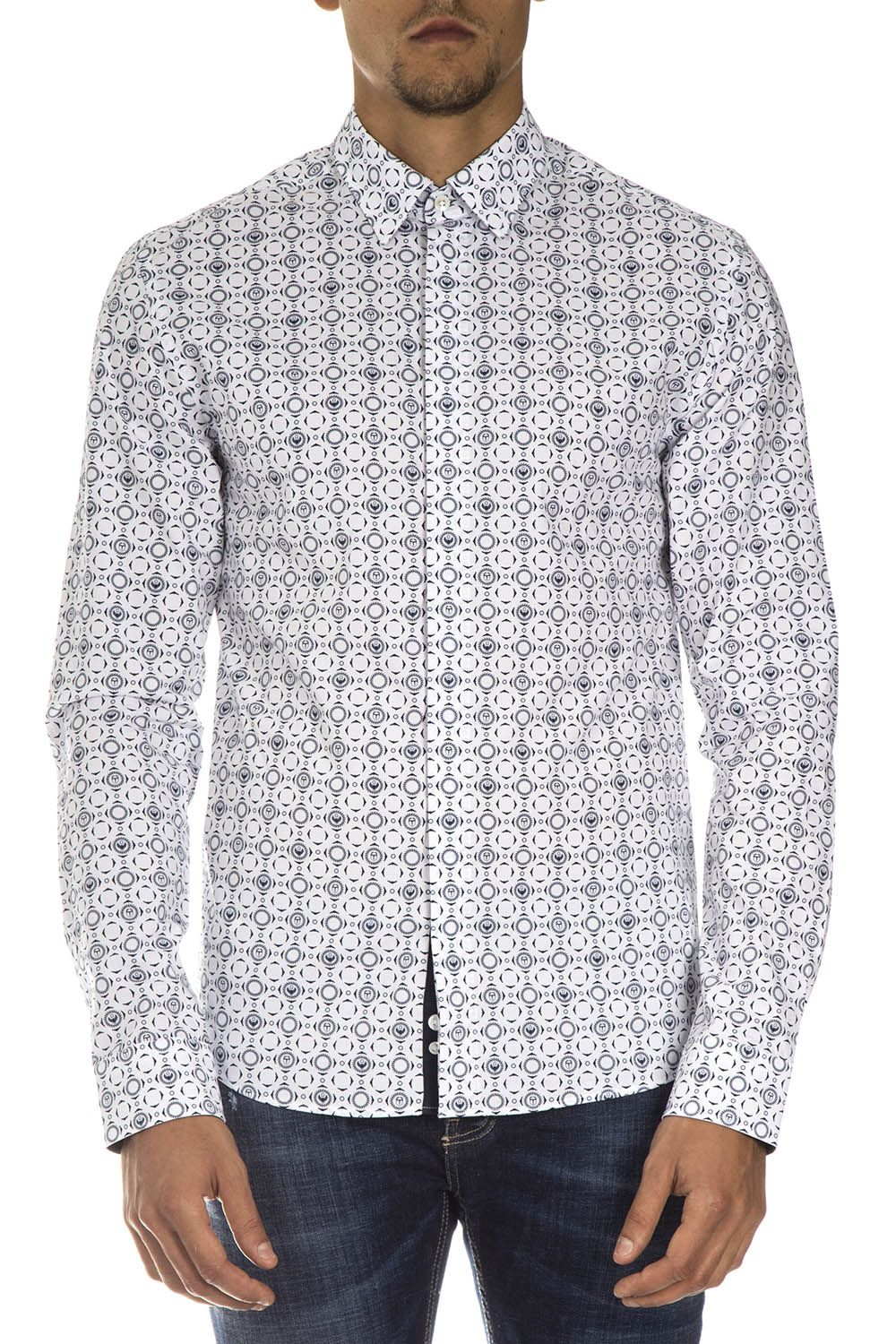 Frankie Morello White Cotton Shirt With Contrasting Print All Over