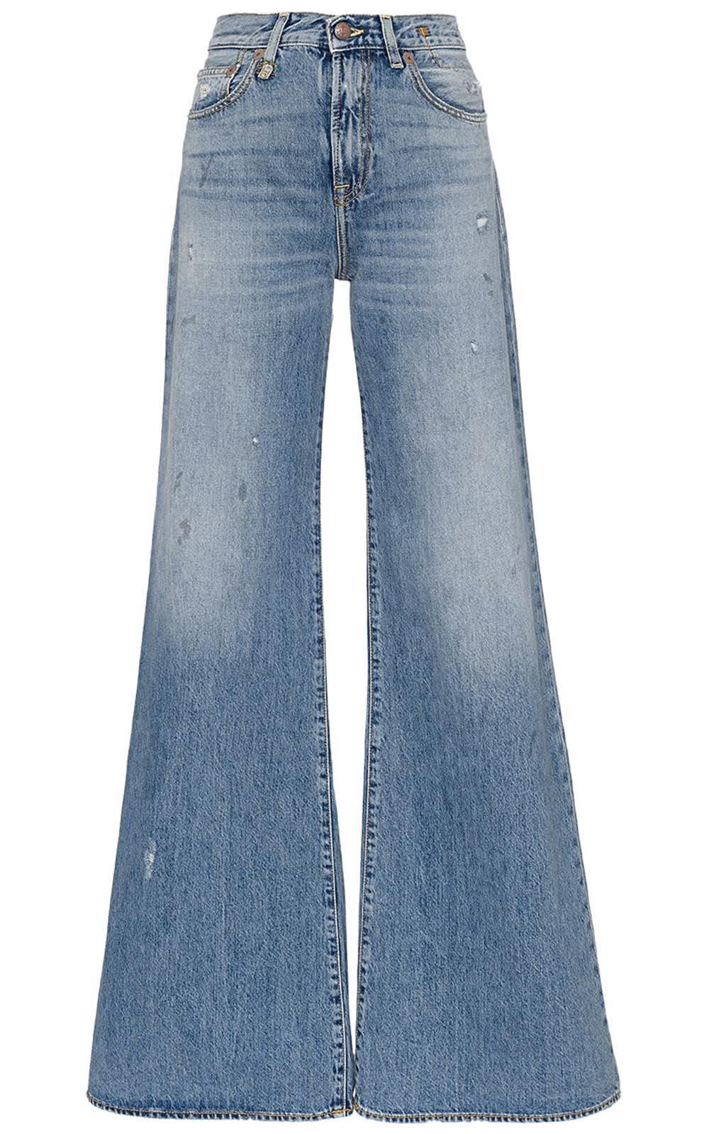 R13 Raegan Distressed High-rise Wide-leg Jeans