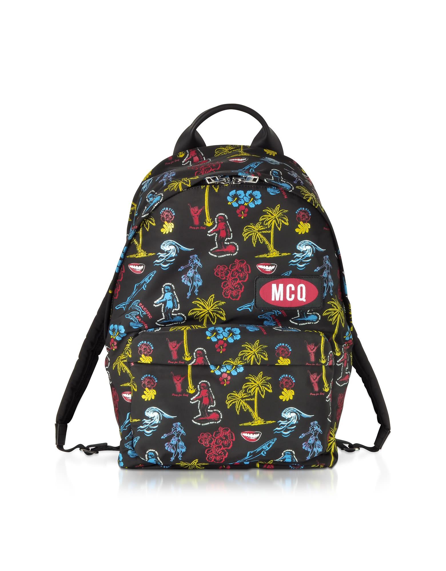 Mcq Alexander Mcqueen Darkest Black Printed Nylon Classic Backpack