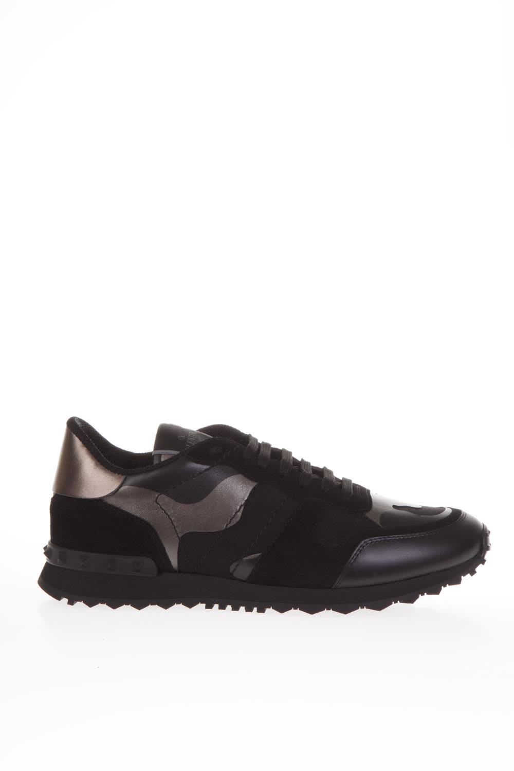 Valentino Garavani Rockrunner Black Leather & Suede Sneakers