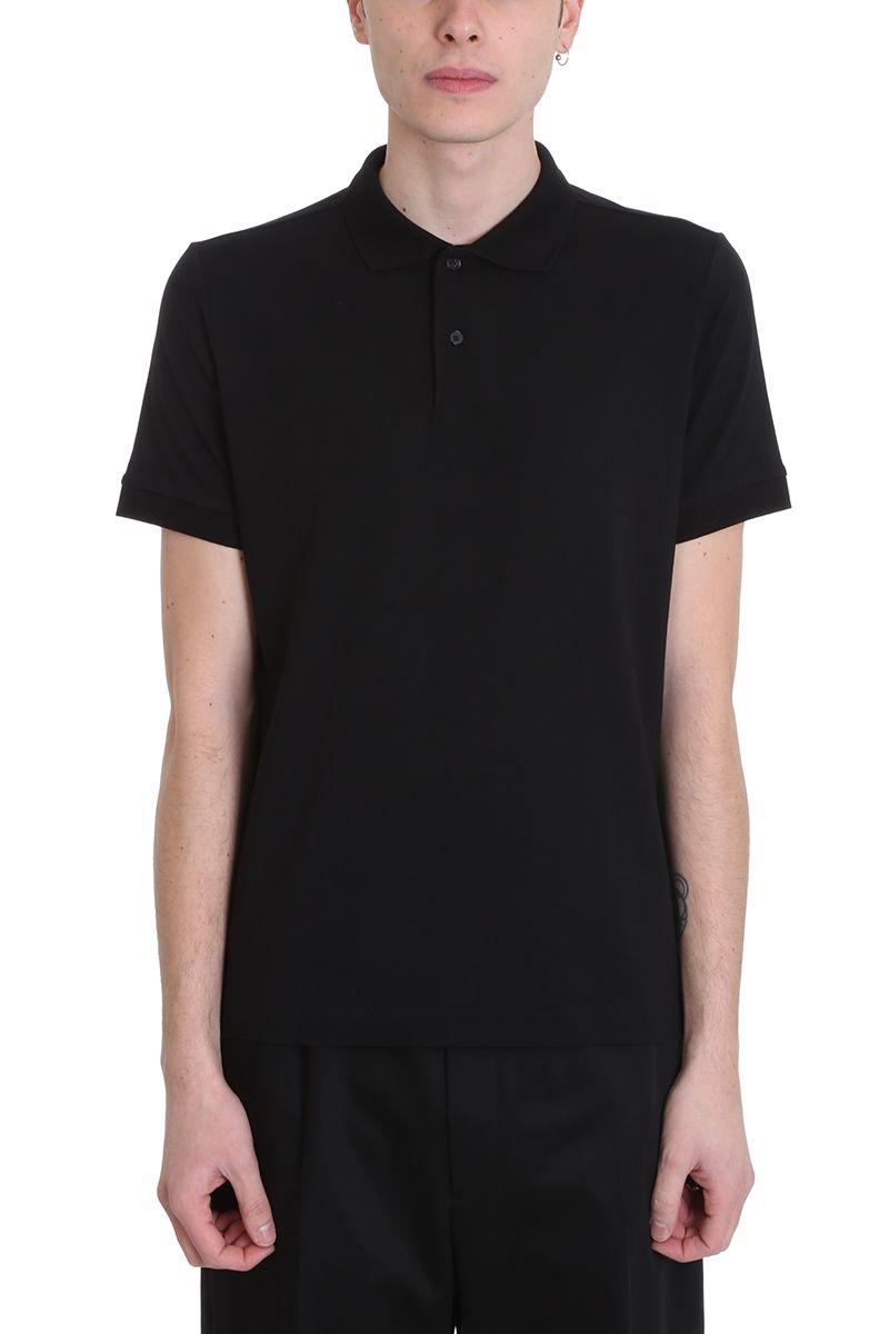 Jil Sander Black Cotton Polo