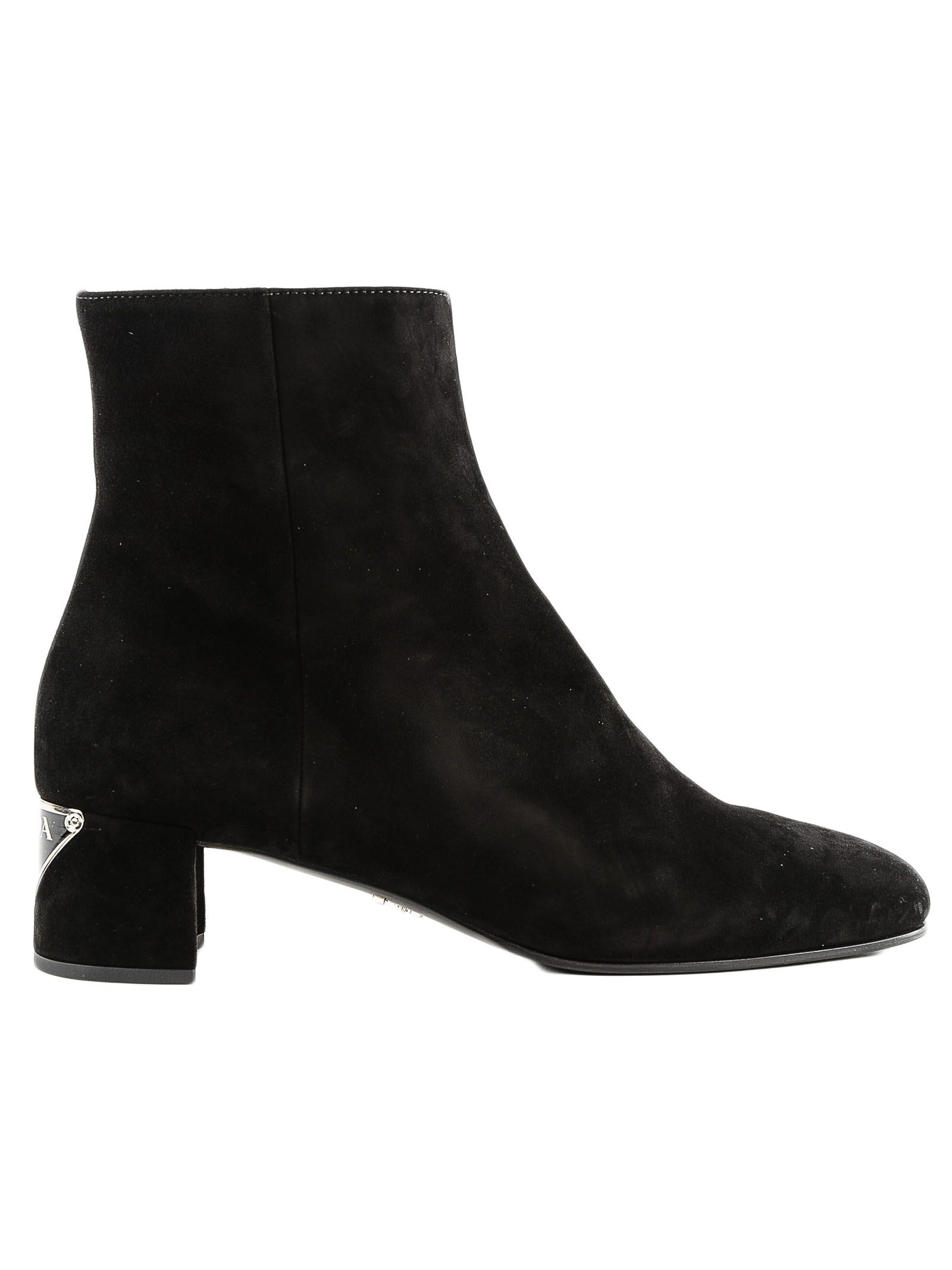 Prada Logo Patch Heeled Ankle Boots
