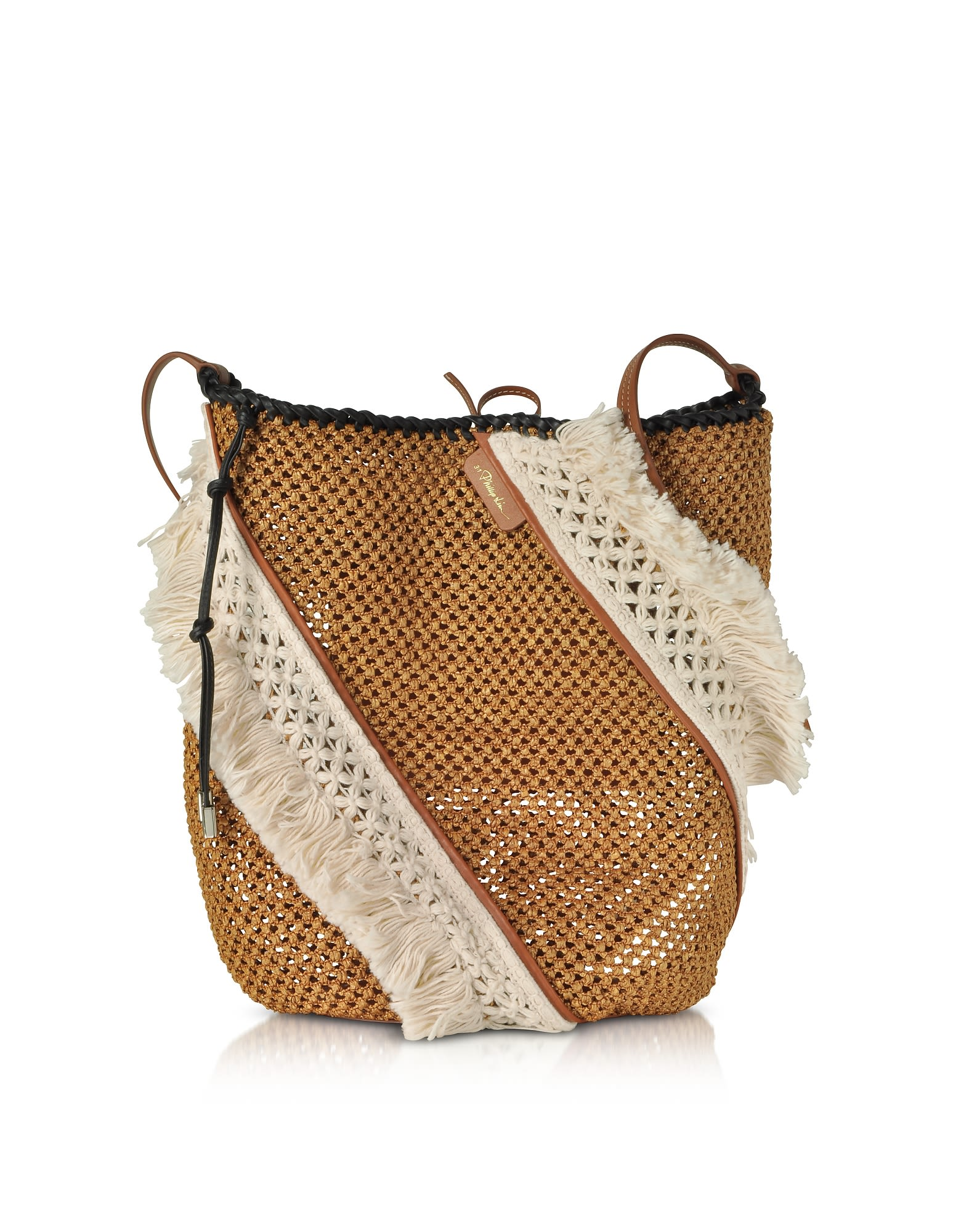 Marlee Open Weave Bag W/Fringes in Cognac