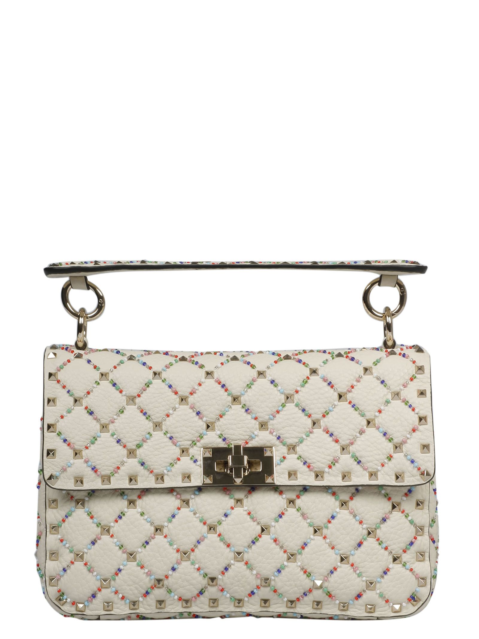 Valentino Garavani Medium Rhombus Beads Embroidery Shoulder Bag