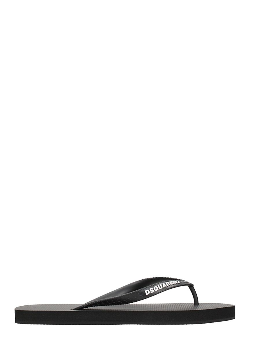 Dsquared2 Black Rubber Flip-flops