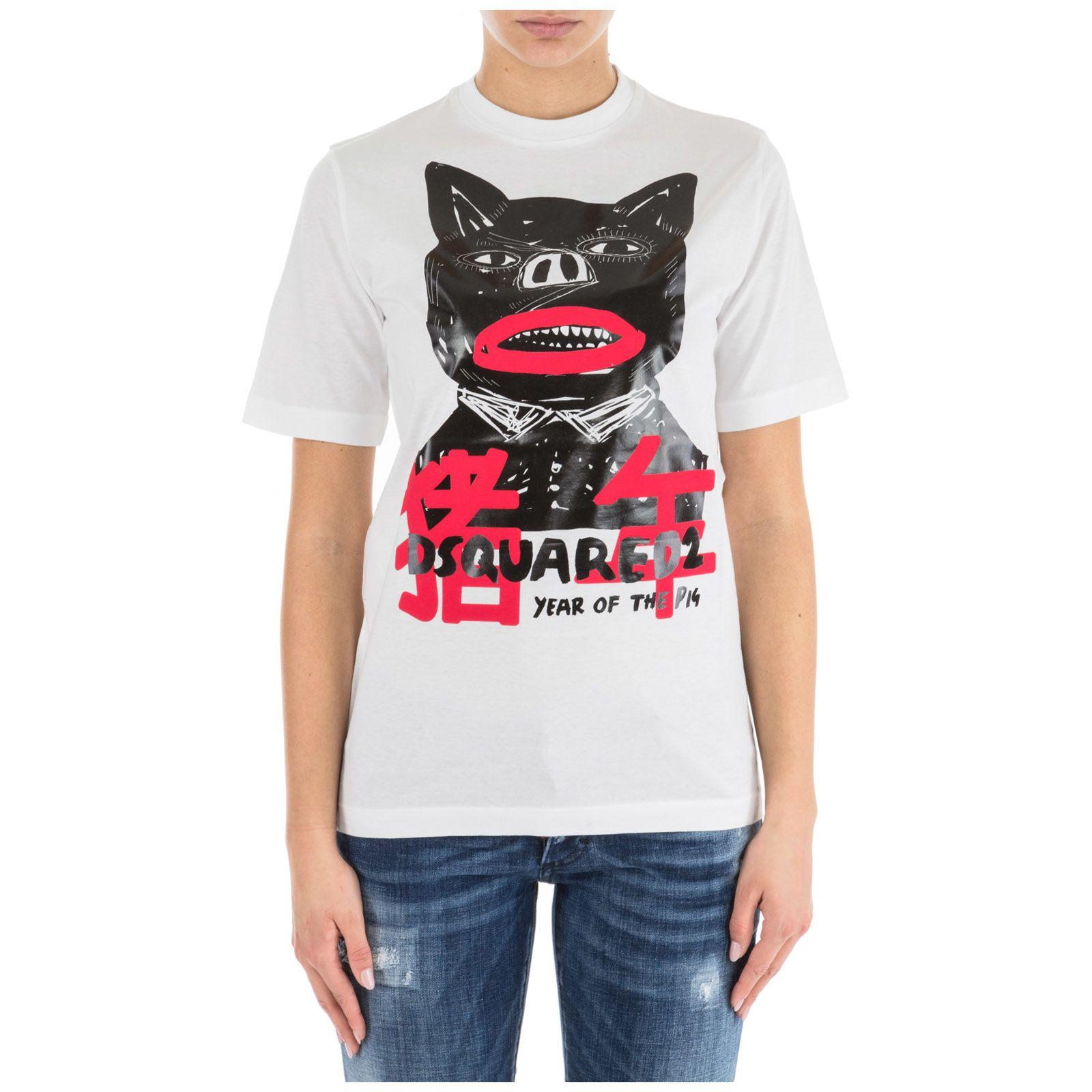 Dsquared2 T-shirt Short Sleeve Crew Neck Round Pig Punk