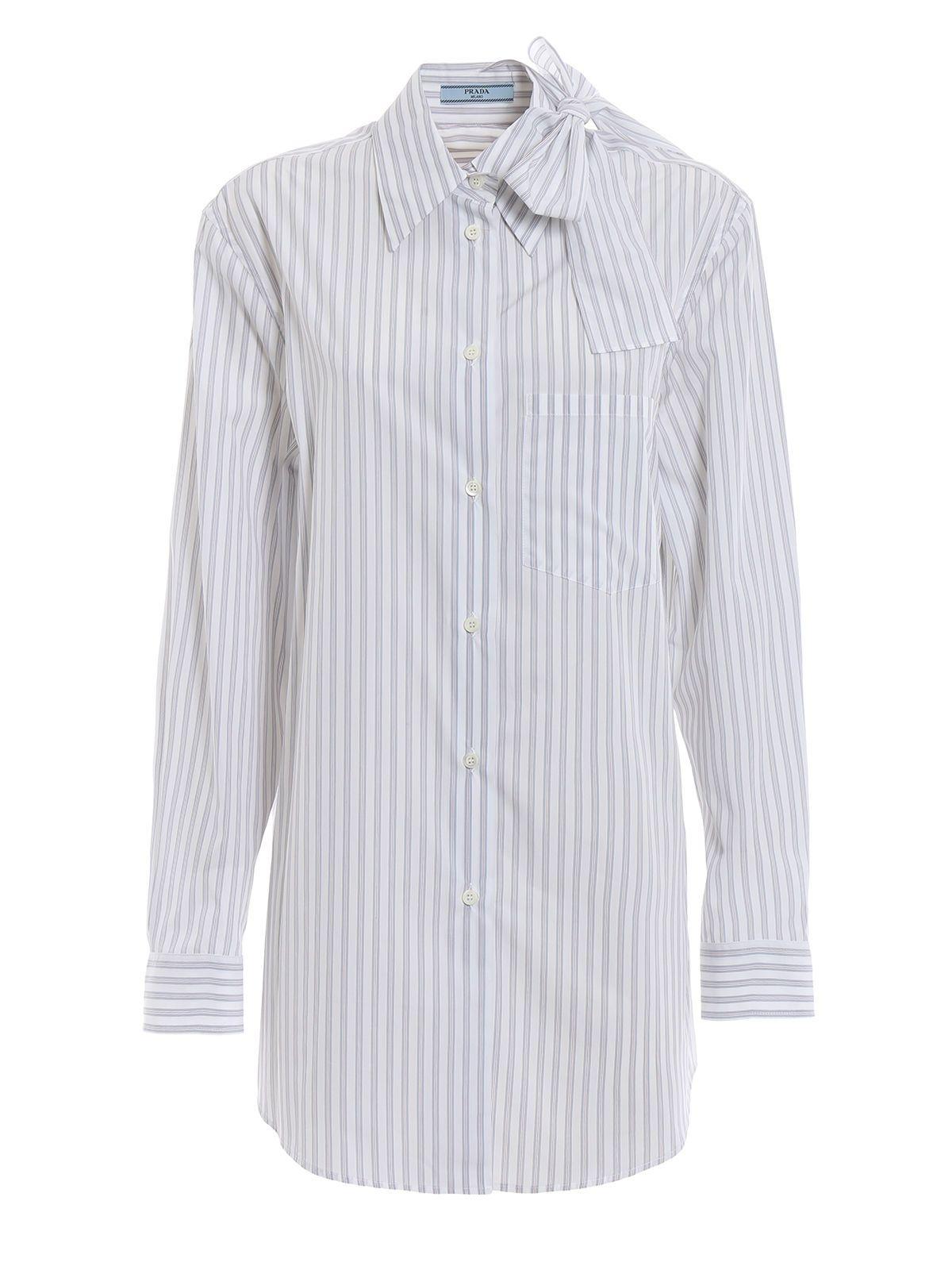 Prada Striped Bow Collar Shirt