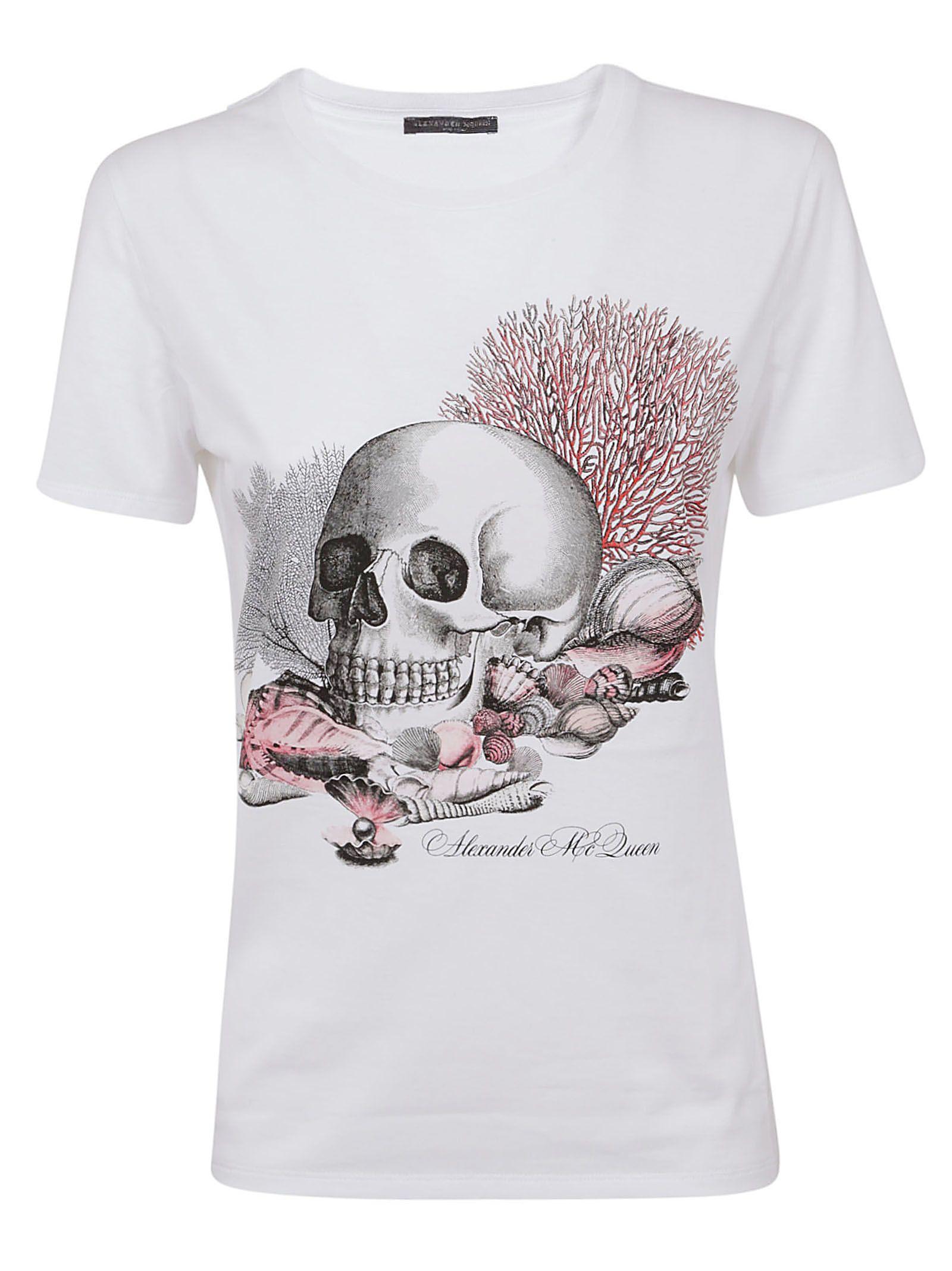 Alexander Mcqueen Seashell Skull Printed T-shirt