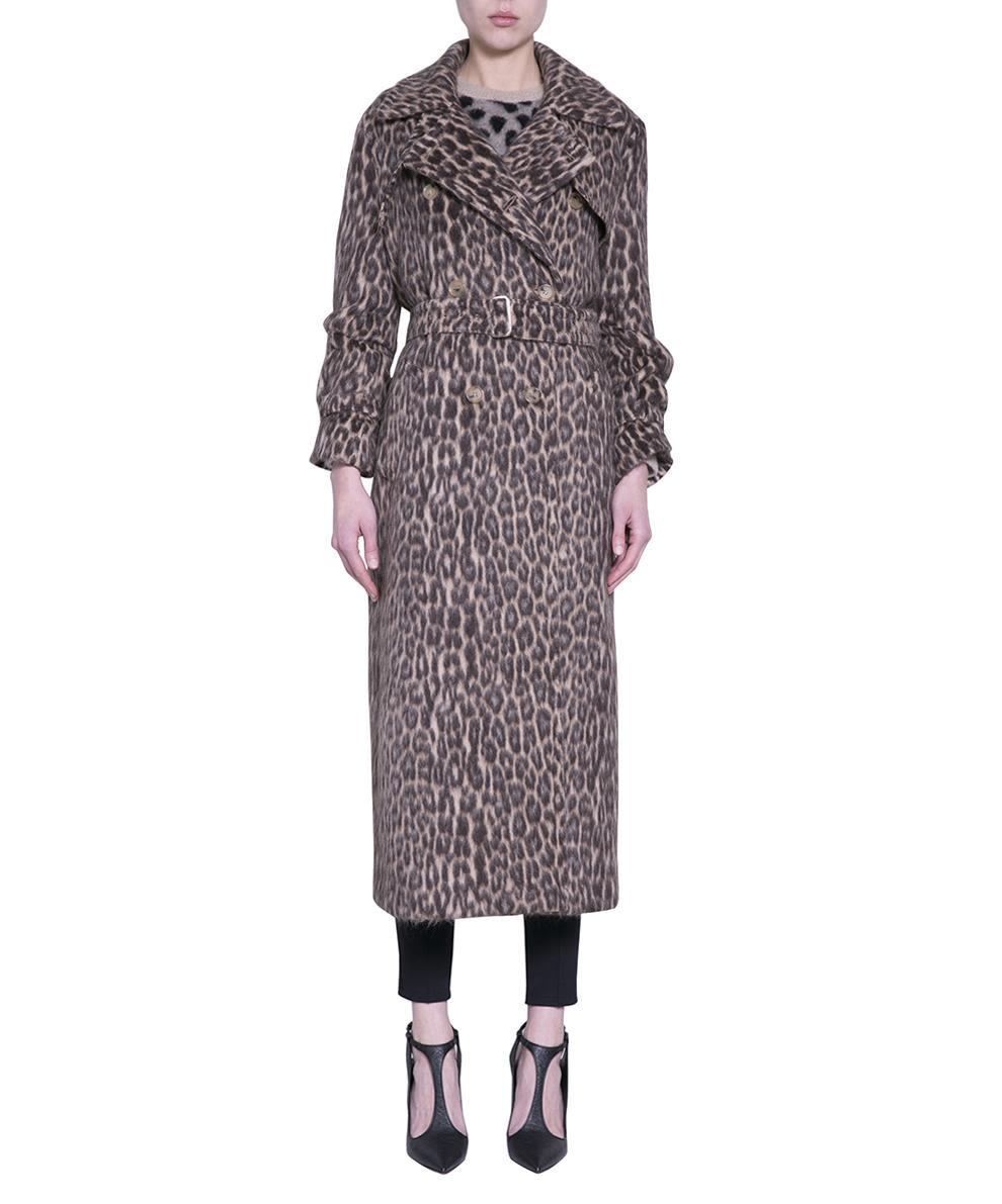 Max Mara Wool Blend Leopard Trench Coat