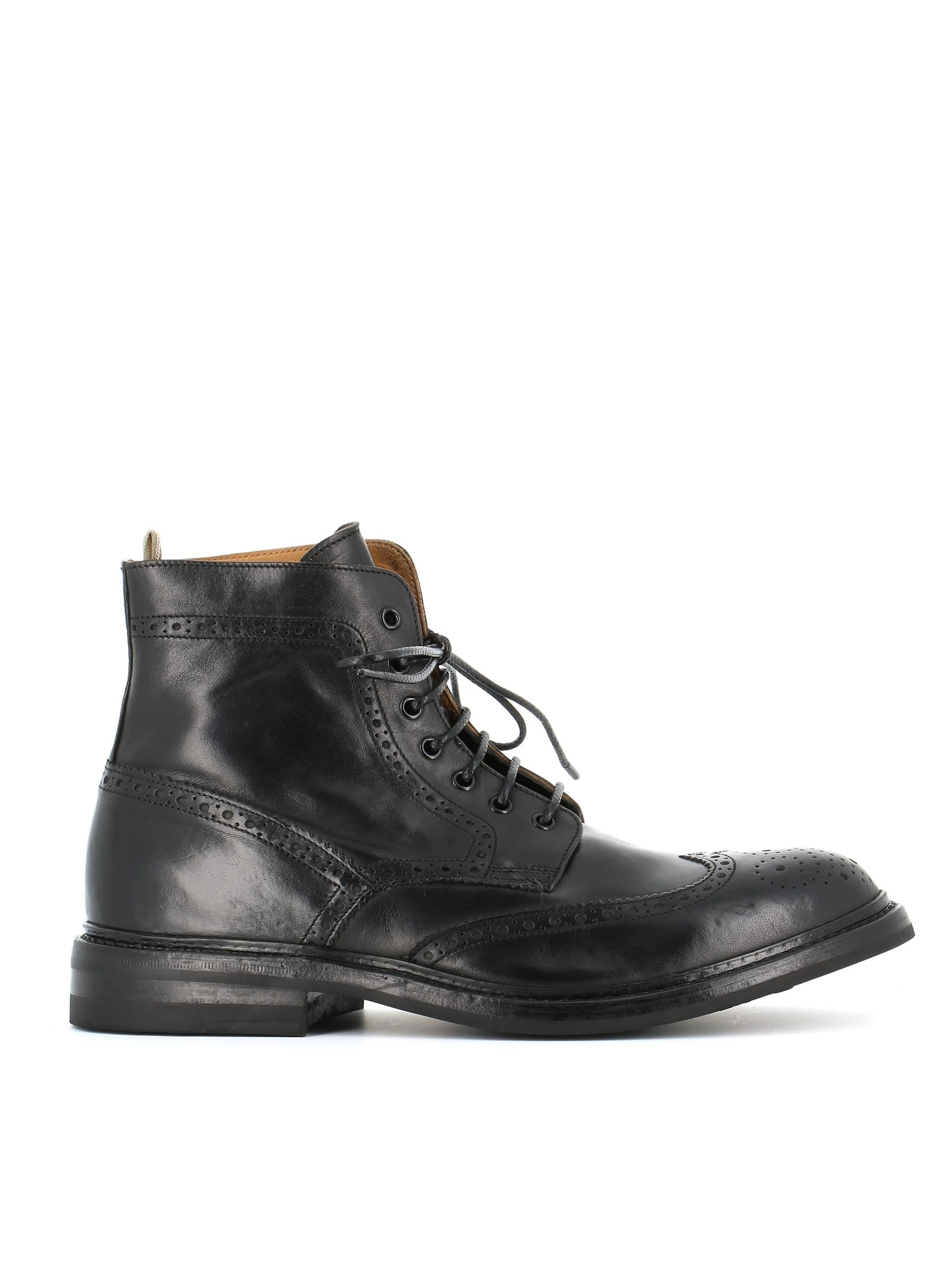 Officine Creative Brogue Detail Lace-up Boots