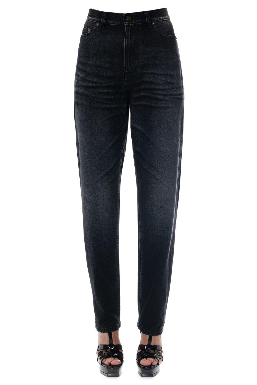 Saint Laurent Embroidered Baggy Black Jeans